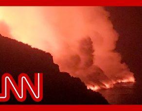 Lava from La Palma volcano reaches ocean